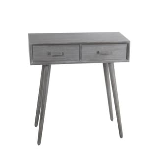 Privilege Washed Grey Wood Retro Mid-century 2-drawer Console Table