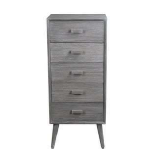 Privilege Washed Grey Wood Retro Mid-century 5-drawer Accent Stand