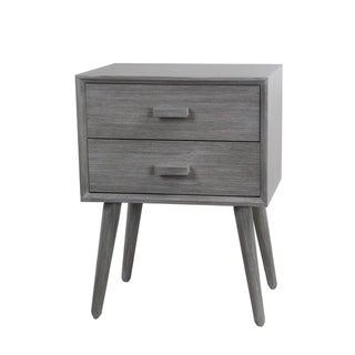 Privilege Washed Grey Wood Retro Mid-century 2-drawer Accent Stand