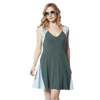 AtoZ Fit and Flare Modal V-neck Dress