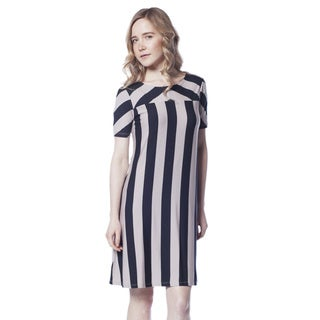 AtoZ Short Sleeve Striped Modal Dress