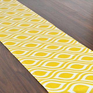 Nichole Corn Yellow and White Cotton 12.5-inch x 72-inch Runner