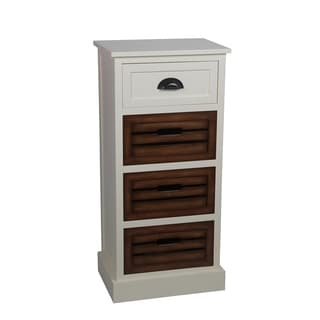 Privilege Cream Honeynut White Wood Transitional 1/3-drawer Storage Unit