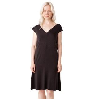 AtoZ Striped Modal V-neck Dress