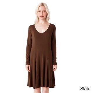 AtoZ Long Sleeve Modal U-neck Flare Dress