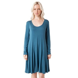 AtoZ Long Sleeve Modal U-neck Flare Dress