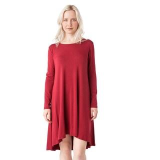 AtoZ Red Modal Long-sleeved Crewneck Dress