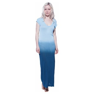 AtoZ Soft Slub Viscose Ombre Maxi Dress