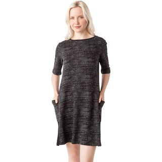 AtoZ Women's Short Sleeve Crewneck Pocket Dress