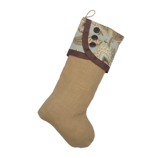 Circa Barley Tan and Gold Linen 11-inch x 19-inch Solid Stocking with Mist Scalloped Band