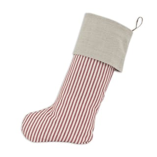 Red Stripe Cotton with Natural Linen Band and Hemp Tab 11-inch x 19-inch Christmas Stocking