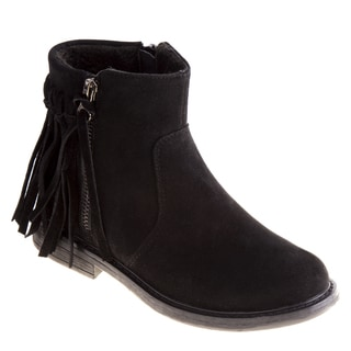 Kensie Girl Girls' Black/Brown Polyurethane/Suede Ankle Fringe Boots