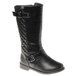 Kensie Girl Girls' Black Polyurethane Quilted Boots