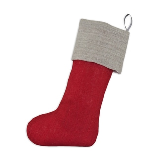Red Polyester 11-inch x 19-inch Burlap Ash Band Christmas Stocking
