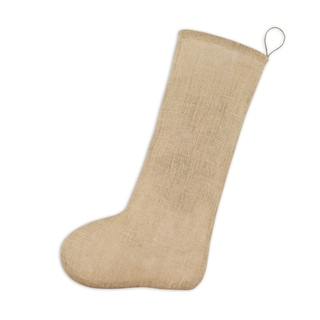 Tan Natural Fibers Burlap 11-inch x 19-inch Christmas Stocking
