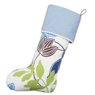 Monaco Breeze-Oxford Sailor Creme Twist Blue/White Cotton 11-inch x 19-inch Lined Stocking