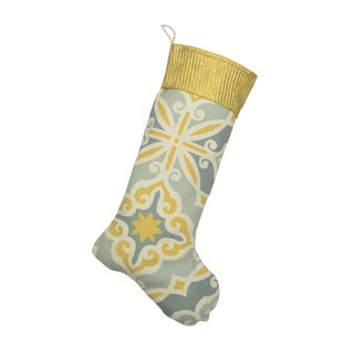 Hartford Safford Ivory/Blue Cotton/Polyester 11-inch x 19-inch Stocking With Glitter Pleats Gold Band