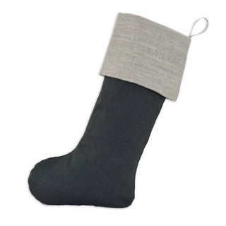 Circa Solid Grey Charcoal Linen and Polyester with Burlap Ash Band 11-inch x 19-inch Christmas Stocking