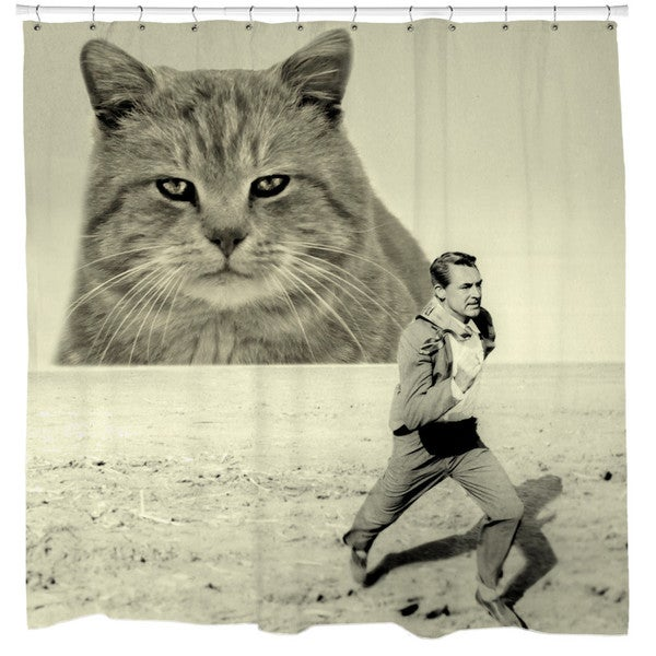 Sharp Shirter Attack of The Fifty-foot Feline Shower Curtain