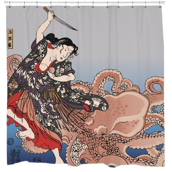 Sharp Shirter Battling The Octopus Shower Curtain