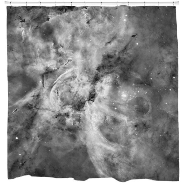 Sharp Shirter Black and White Carina Nebula Shower Curtain