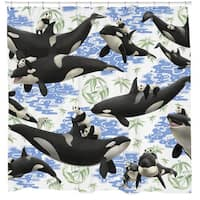Sharp Shirter Captives/ Panda and Orca Shower Curtain