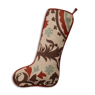 Suzani Nile Denton Blue Brown and Khaki Cotton and Polyester 11-inch x 19-inch Christmas Stocking