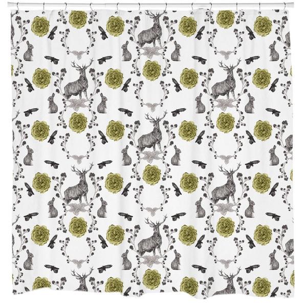 Sharp Shirter Forest Friends/ Deer and Rabbit Shower Curtain