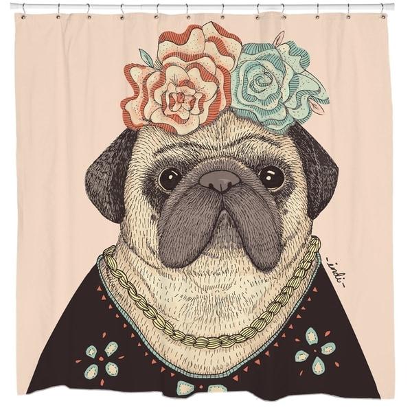Sharp Shirter Frida Pug-lo Shower Curtain