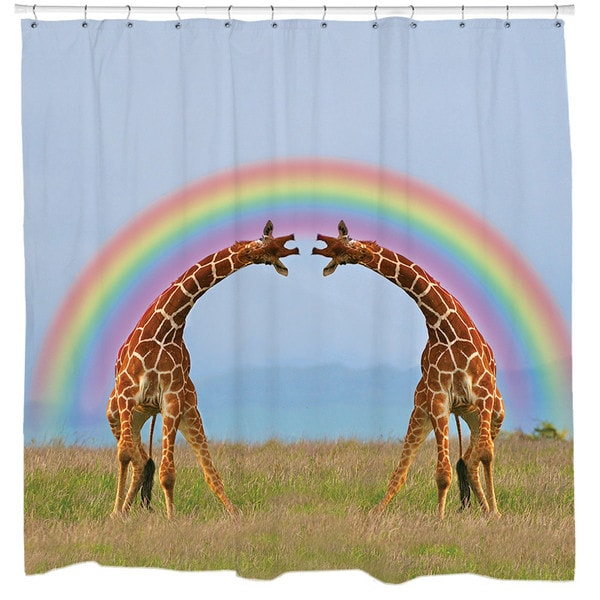Sharp Shirter Giraffe Double Rainbow Shower Curtain