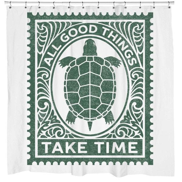 Sharp Shirter Good Things Turtle Shower Curtain