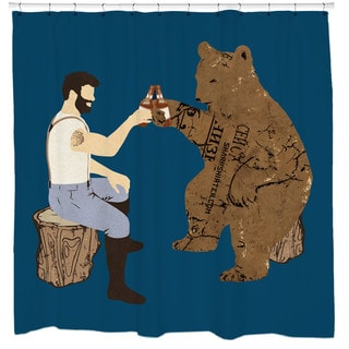 Sharp Shirter Having a Bear/ Beer Shower Curtain