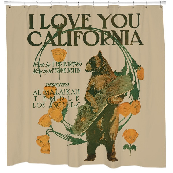 Sharp Shirter I Love You California/ Bear Shower Curtain