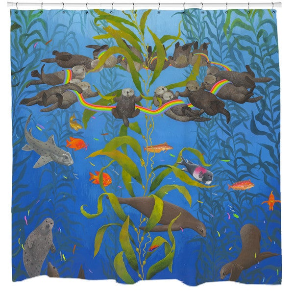 Sharp Shirter Kelp Magic Shower Curtain