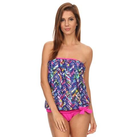 Dippin' Daisy's Women's Blue/Pink Nylon/Spandex Plaid Bandeau Blouson Tie Tankini