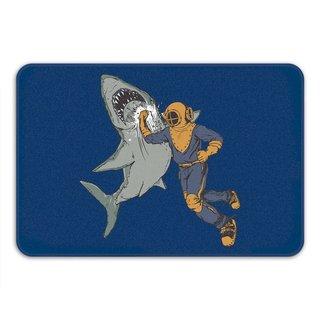 Sharp Shirter Shark Punch Navy Memory Foam Bath Mat - Blue