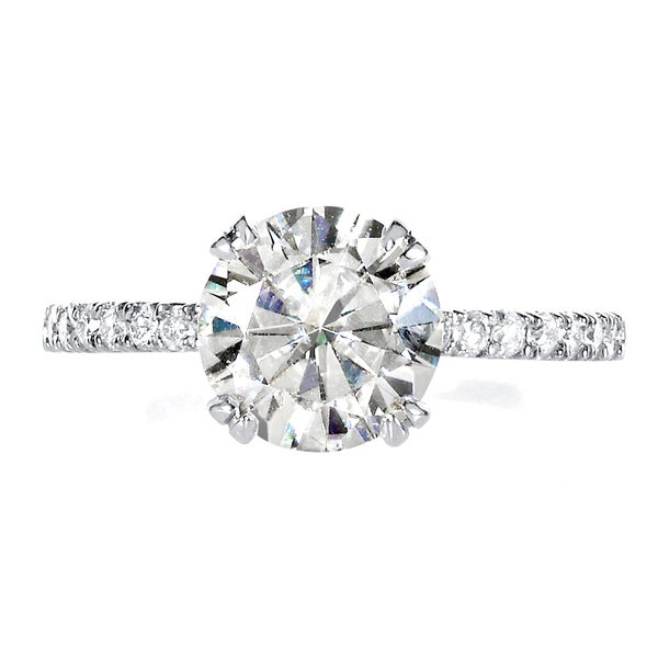 Annello by Kobelli 14k White Gold 1 7/8 ct Moissanite and 1/5 ct TDW Diamond Engagement Ring