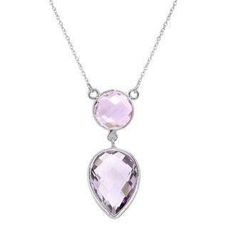 Orchid Jewelry 12.30ct Pink Amethyst Sterling Silver Necklace