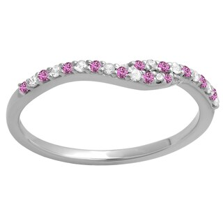 14k Gold 1/5-carat Round-cut Pink Sapphire and White Diamond Ladies Anniversary Wedding Band Guard Ring