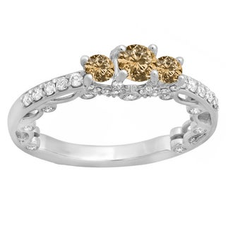 Elora 14k Gold 1 1/6ct TDW Round-cut Champagne and White Diamond Bridal Vintage 3-stone Engagement Ring (H