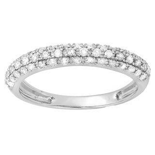 Elora 10k Gold Round 3/8ct TDW White Diamond Anniversary Wedding Band Stackable Ring (H-I, I1-I2)