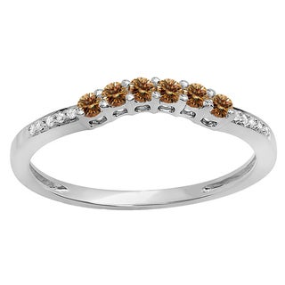 Elora 14k Gold 1/4ct TDW Round Champagne and White Diamond Anniversary Wedding Stackable Guard Band (H-I,
