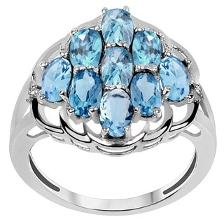 Orchid Jewelry 925 Silver 2 2/5ct. Blue Topaz Gemstone Engagement Ring