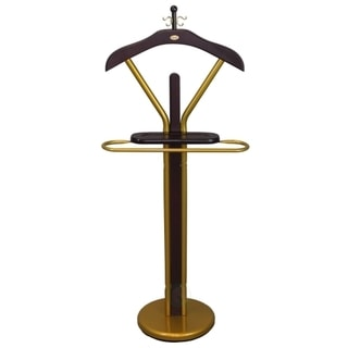 Wood 46-inch Suit Valet Rack Stand With Gold Accents