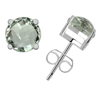 Orchid Jewelry Sterling Silver 8ct. Round-cut Green Amethyst Gemstone Stud Earrings