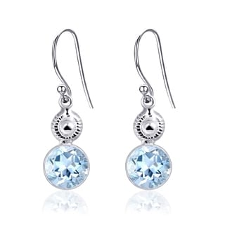 Orchid Jewelry 925 Sterling Silver 4.85ct Blue Topaz Dangle Earrings