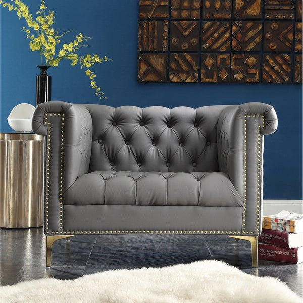 Chic Home Winston Grey Chrome Leather Button Tufted