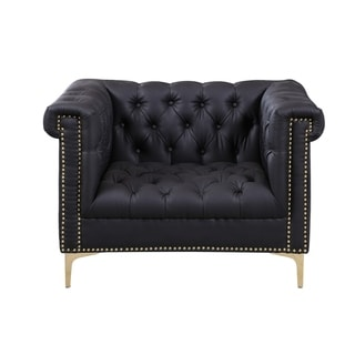 Chic Home Winston Grey Chrome/ Leather Button-tufted Lounge Chair with Goldtone Nailhead Trim