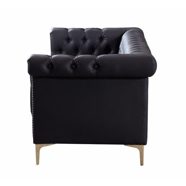 Fine Shop Chic Home Winston Gold Nailhead Trim Button Tufted Pu Theyellowbook Wood Chair Design Ideas Theyellowbookinfo