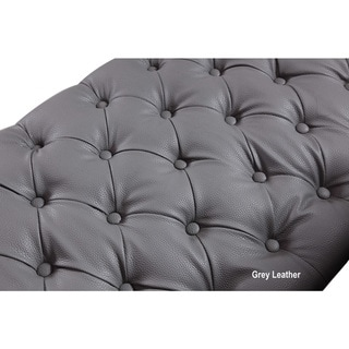Chic Home Winston Blue/ Black/ Grey Chrome/ Leather Button-tufted with Gold Nailhead Trim Goldtone Metal Y-leg Sofa